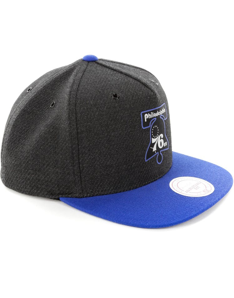 hot sale online d5e3f ea962 Mitchell   Ness Philadelphia 76ers Woven Reflective Snapback Charcoal Royal