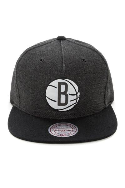 013ddfea94beb Mitchell   Ness Brooklyn Nets Woven Reflective Snapback Charcoal Black