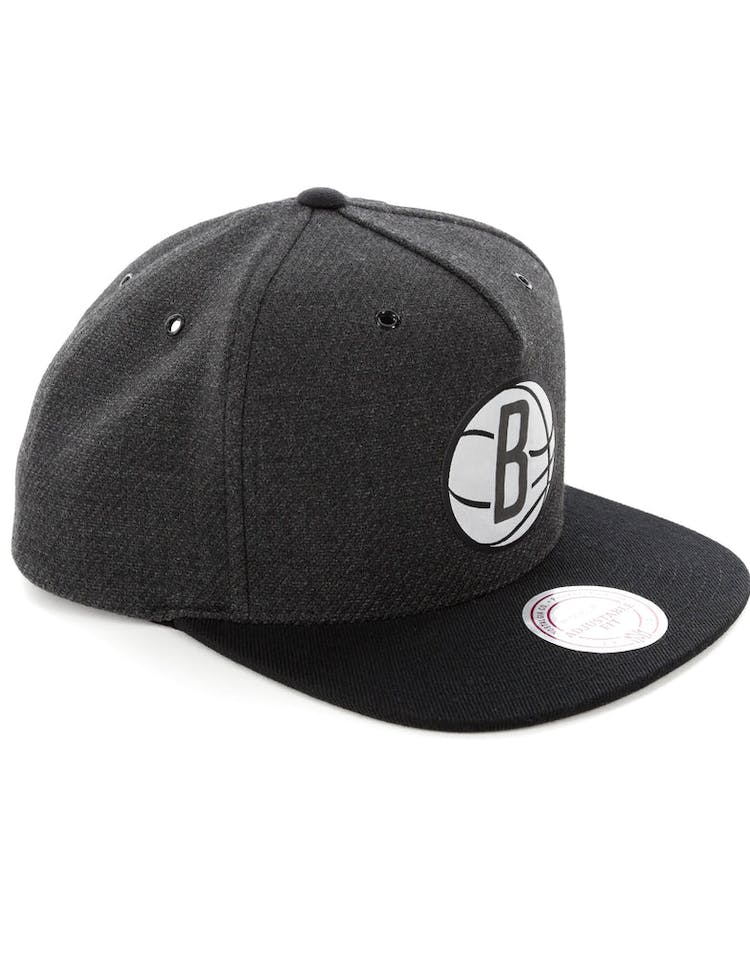 650b9e7cbda0d0 Mitchell & Ness Brooklyn Nets Woven Reflective Snapback Charcoal/Black