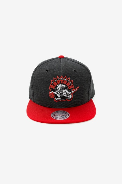 Mitchell & Ness Toronto Raptors Woven Reflective Snapback Charcoal/Red