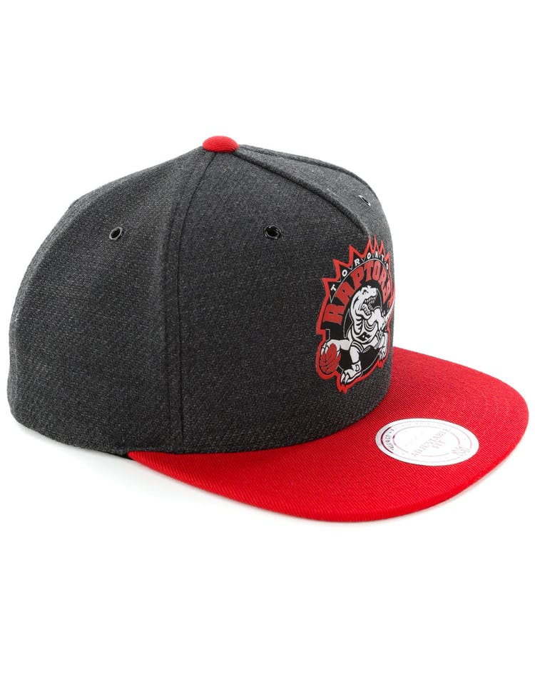 size 40 1c602 be3ff Mitchell   Ness Toronto Raptors Woven Reflective Snapback Charcoal Red