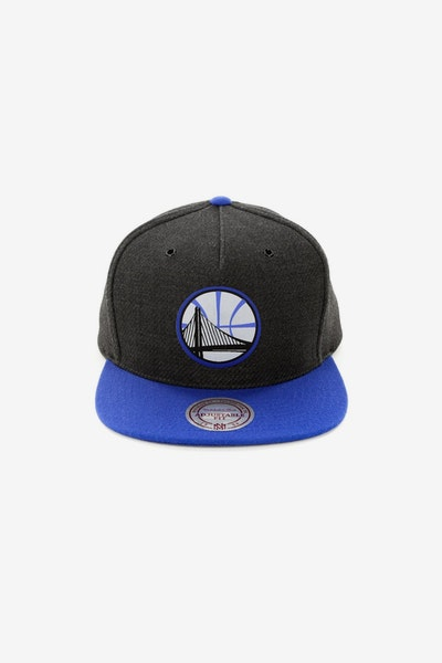 Mitchell & Ness Golden State Warriors Woven Reflective Snapback Charcoal/Royal