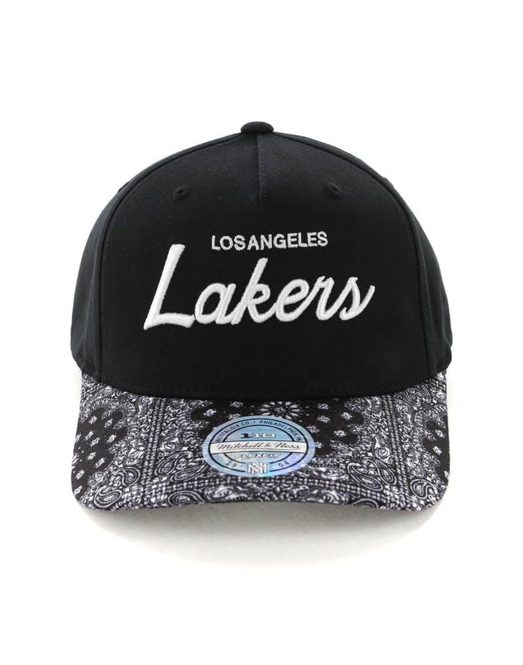 8519530b Mitchell & Ness Los Angeles Lakers Paisley 110 Snapback Black