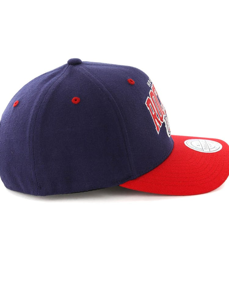 release date: 1f551 d6805 Mitchell   Ness Houston Rockets HWC Arch 110 Snapback Navy Red