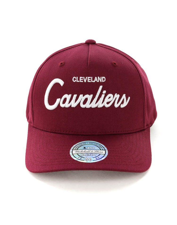 new style 66c2f 6ae62 Mitchell   Ness Cleveland Cavaliers Basic Script 110 Snapback Maroon White