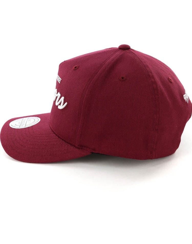 761a04019 Mitchell & Ness Golden State Warriors Basic Script 110 Snapback Maroon/White