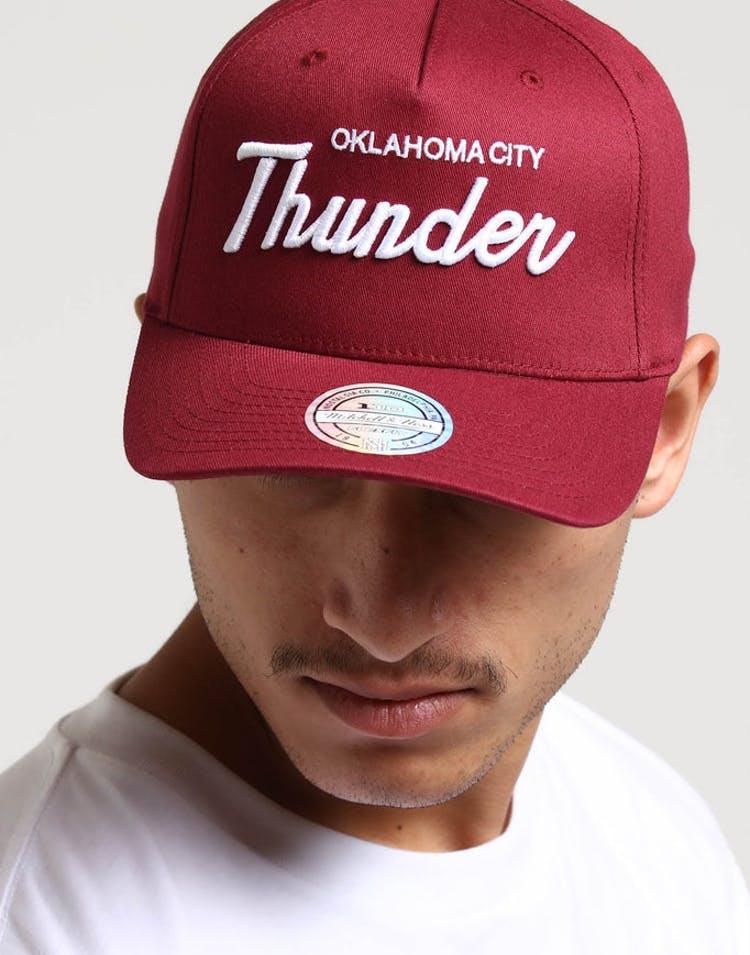 buy popular 4e548 470a5 Mitchell   Ness Oklahoma City Thunder Basic Script 110 Snapback Maroon –  Culture Kings