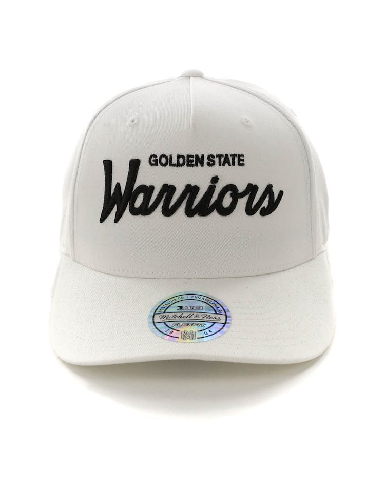 low priced 6dfa4 e9359 Mitchell   Ness Golden State Warriors Basic Script 110 Snapback White Black