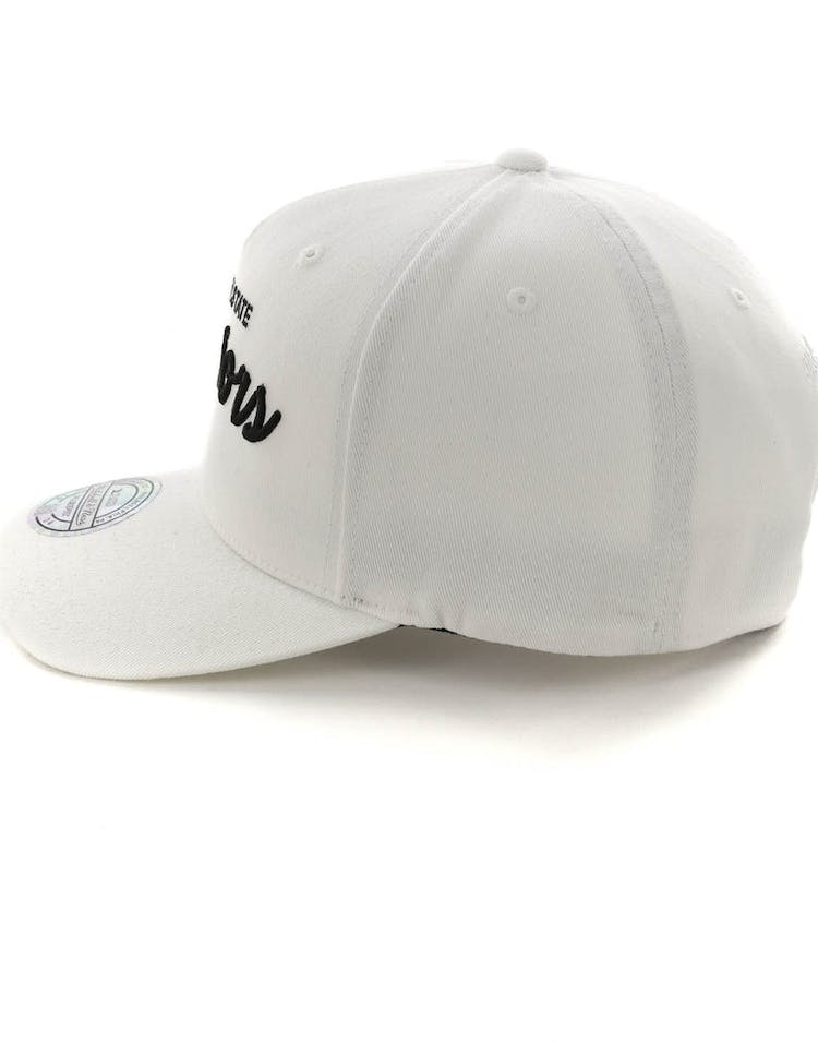 low priced fd1d2 873d1 Mitchell   Ness Golden State Warriors Basic Script 110 Snapback White Black