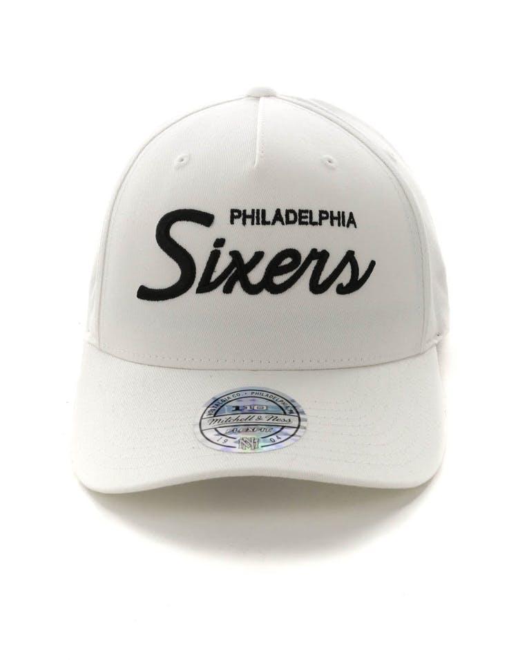 top design buy good new collection Mitchell & Ness Philadelphia 76ers Basic Script 110 Snapback White ...
