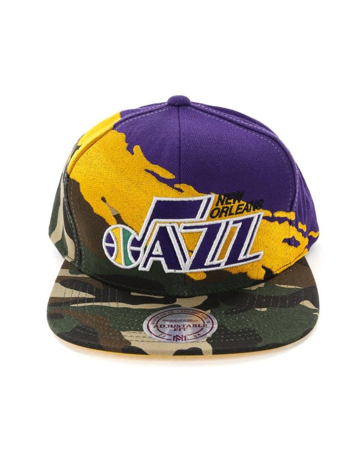 f10fe29a8177ce Mitchell & Ness Utah Jazz Camo Paintbrush Snapback Yellow/Purple ...