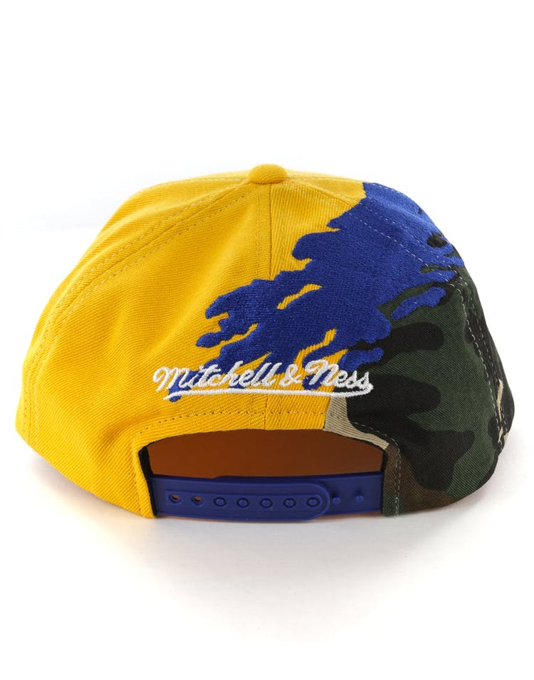 buy online 66070 d038e Mitchell   Ness Golden State Warriors Camo Paintbrush Snapback Royal Yellow