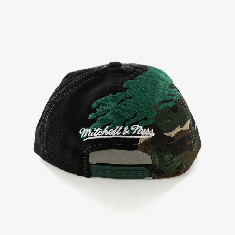e1ec566a72d Mitchell   Ness Boston Celtics Camo Paintbrush Snapback Green Black ...
