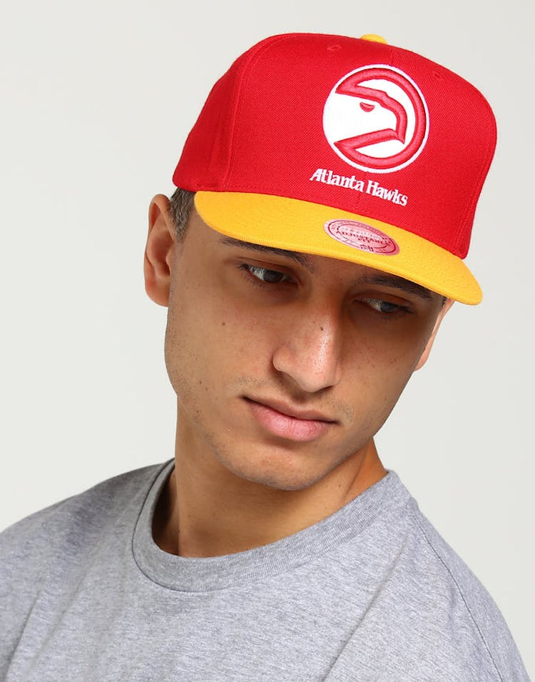 new concept a172f d9654 Mitchell   Ness Atlanta Hawks Satin Fused Snapback Red Yellow – Culture  Kings