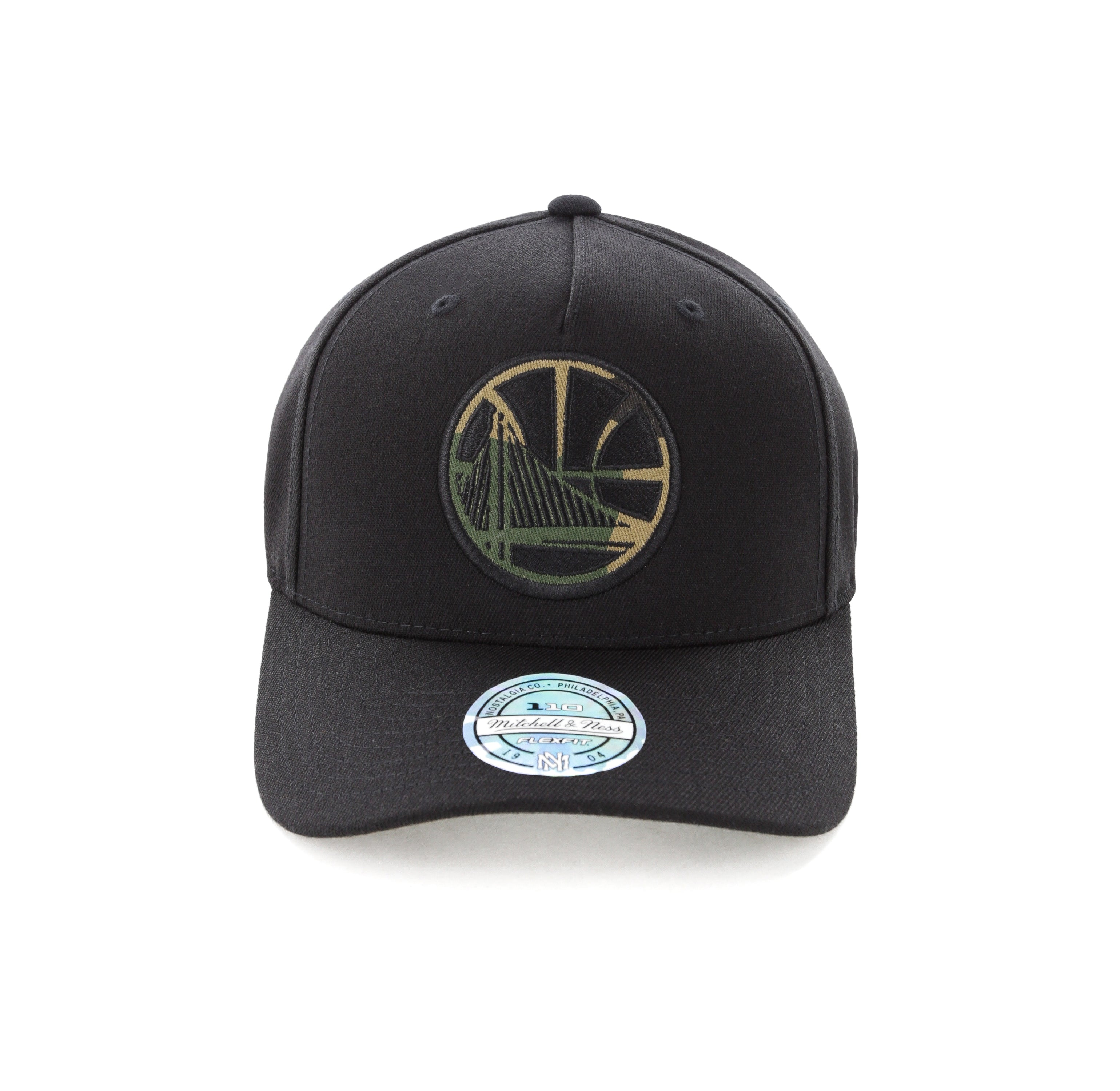 Mitchell /& Ness Camo Logo 110 Snapback Golden State Warriors Black