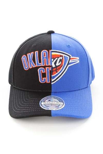 newest 0d0c7 b2562 Mitchell   Ness Oklahoma City Thunder Pinch 110 Half   Half Snapback Black  Blue