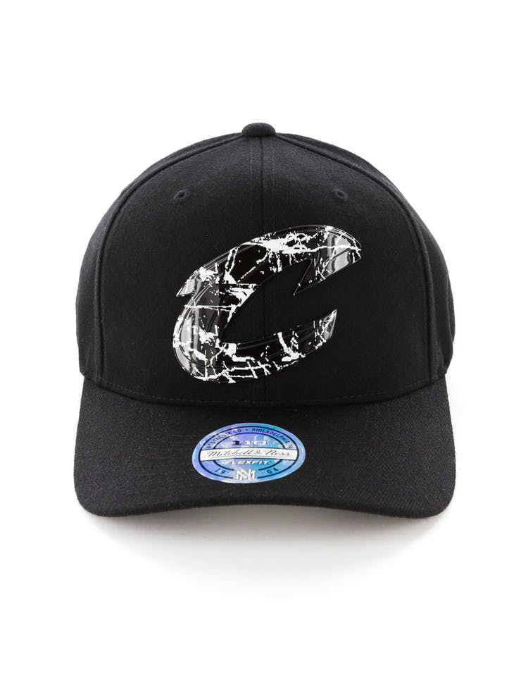 best website 49005 c98f2 Mitchell   Ness Cleveland Cavaliers 110 Flex Snapback Black Marble