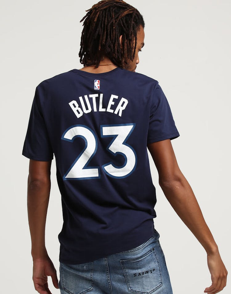 4bd884a7945 Nike Minnesota Timberwolves Jimmy Butler  23 NBA Dri-Fit Tee Navy – Culture  Kings