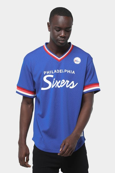 Mitchell & Ness Philadelphia 76ers Mesh V Neck Royal