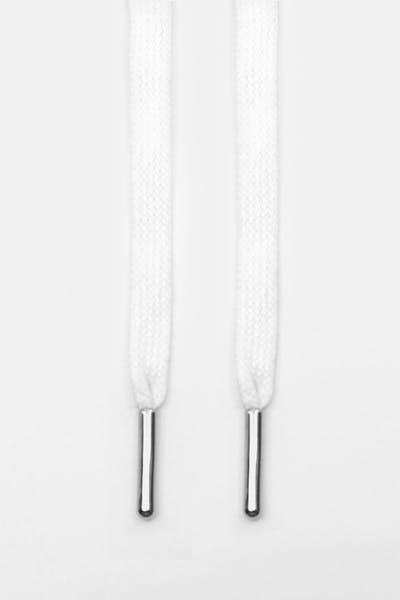Lacespace White Waxed Flat Lace Silver Metal Aglet