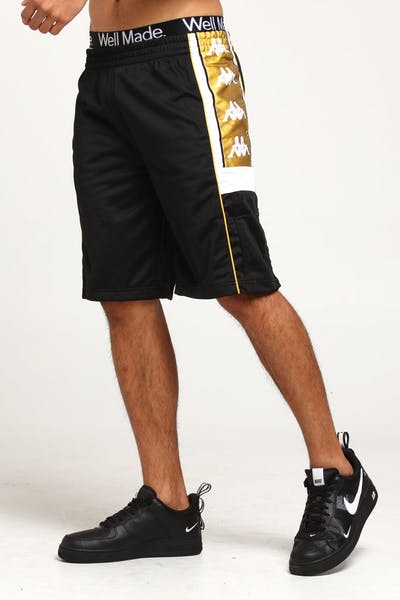 KAPPA 222 BANDA 10 ARWELL SHORT BLACK/WHITE/GOLD