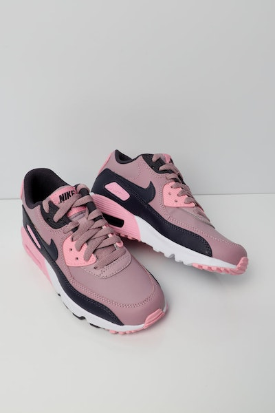 Nike Air Max 90 Leather Older Kids' Shoe Pink/Grey/White