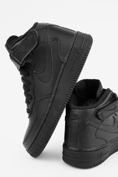 446ad387f342bb Nike Boys Air Force 1 Mid (GS) Bball Black Black