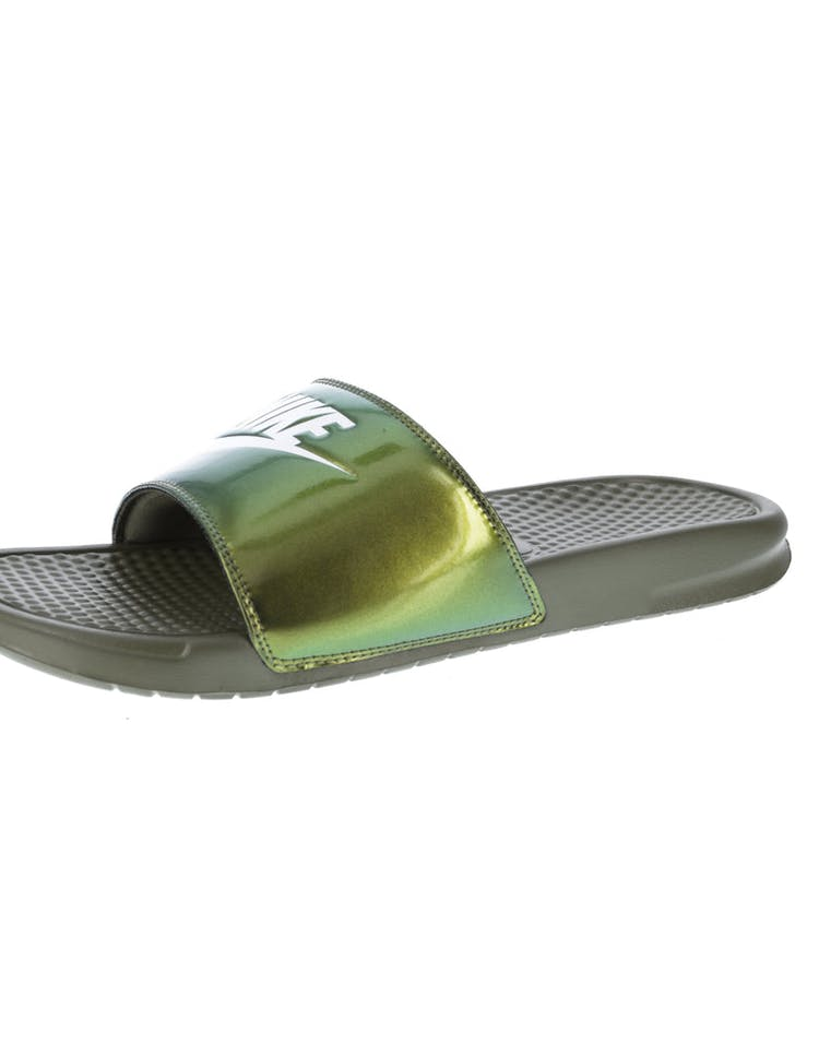 6769963222 Nike Benassi Just Do It Print Slide Olive/White | 631261 200 – Culture Kings
