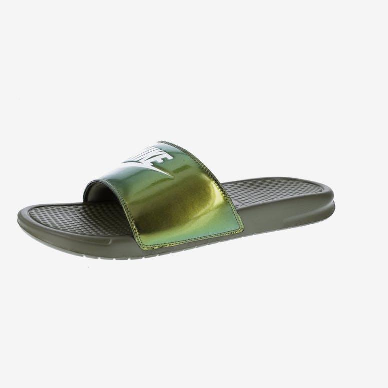 97a6b680e604e Nike Benassi Just Do It Print Slide Olive White