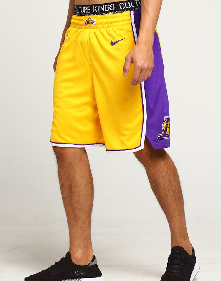 1160f929de90 Los Angeles Lakers Nike Icon Edition Swingman Shorts Yellow Purple Whi –  Culture Kings