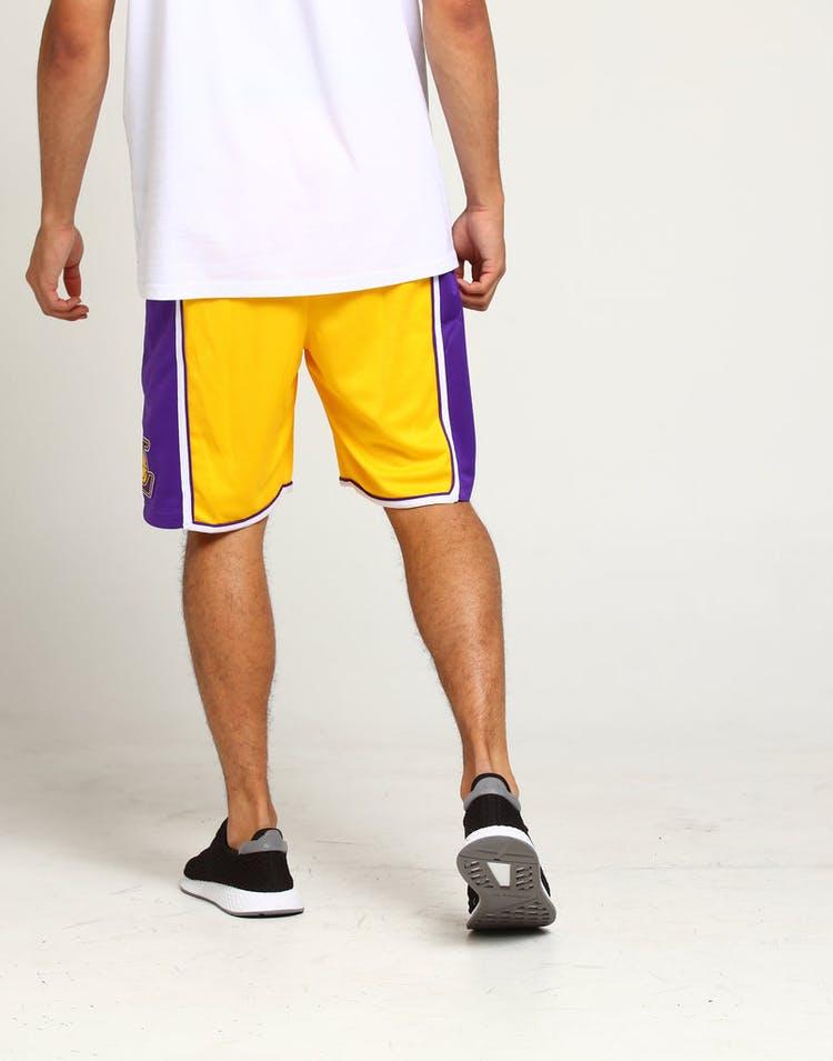5d8587a59 Los Angeles Lakers Nike Icon Edition Swingman Shorts Yellow Purple White