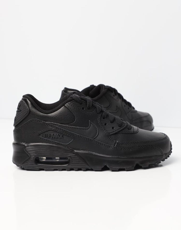 7b957efaddd7b4 Nike Air Max 90 Leather Older Kids  Shoe Black Black
