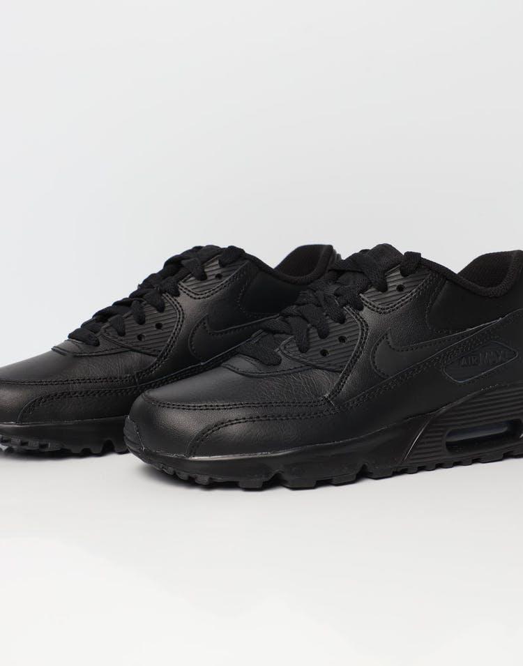 3de69dd3 Nike Air Max 90 Leather Older Kids' Shoe Black/Black