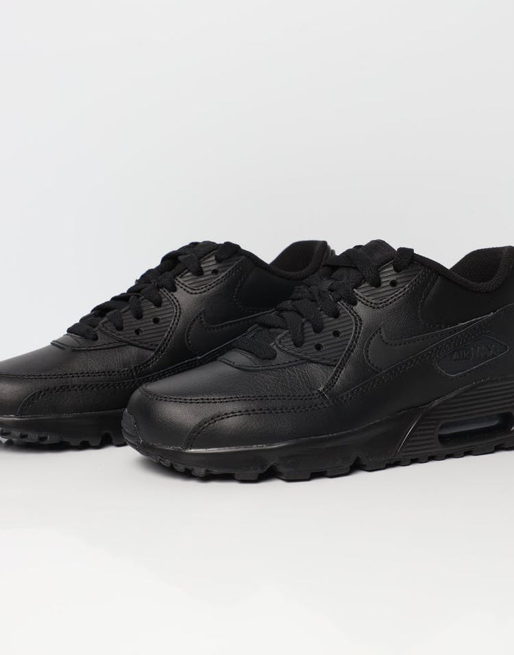 sale retailer 97499 cbb98 Nike Air Max 90 Leather Older Kids' Shoe Black/Black