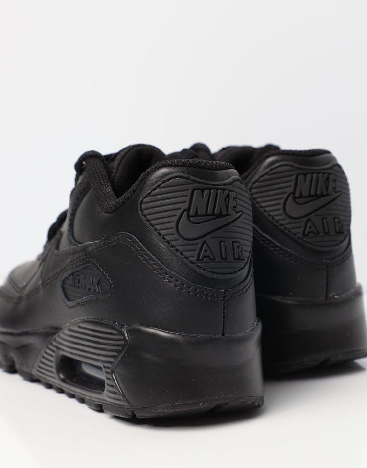 aad1839fc5 Nike Air Max 90 Leather Older Kids' Shoe Black/Black | 833412 001 ...