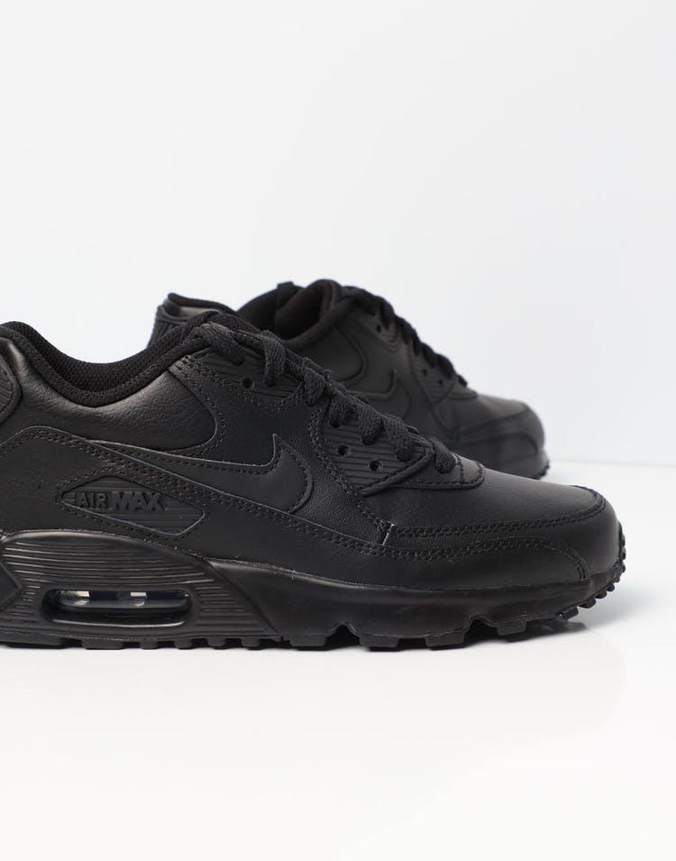 a482cf06 Nike Air Max 90 Leather Older Kids' Shoe Black/Black