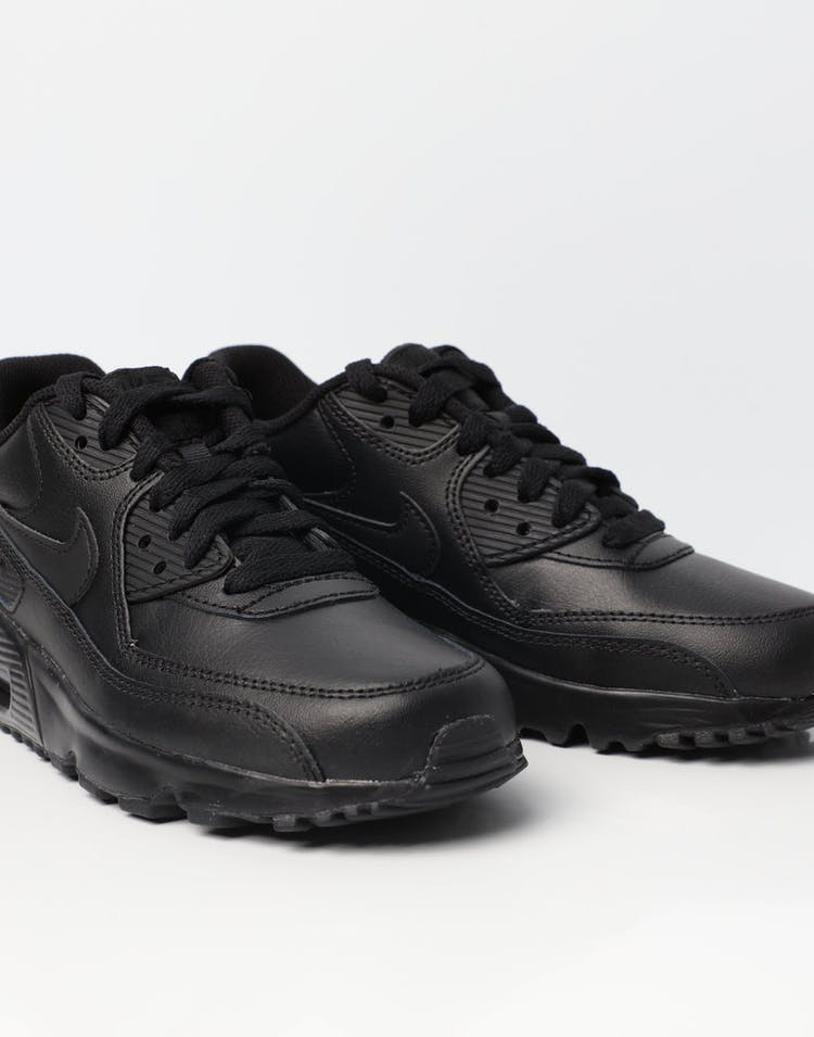 uk availability 65b0c 78873 Nike Air Max 90 Leather Older Kids  Shoe Black Black