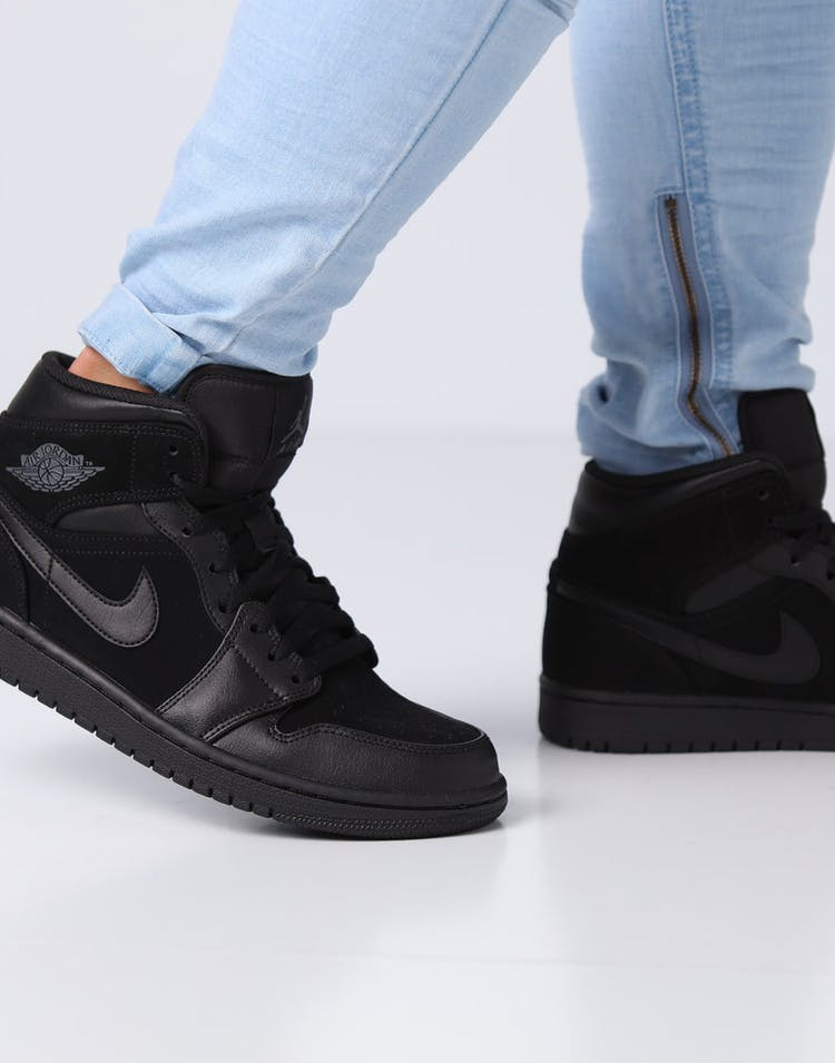 new styles 2031c 06295 Air Jordan 1 Mid Black Dark Grey Black