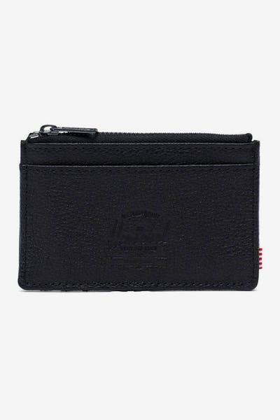 HERSCHEL BAG CO OSCAR LEATHER RFID WALLET Black Pebble Leather