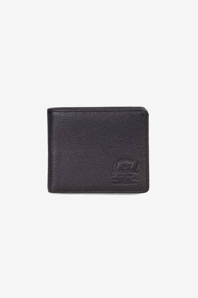 HERSCHEL BAG CO ROY + COIN XL LEATHER RFID WALLET Black Pebble