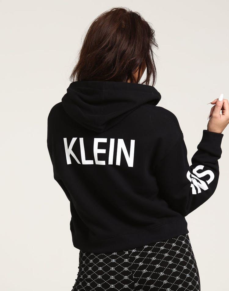 529f28481 Calvin Klein Women's Cropped Institutional Hoodie Black
