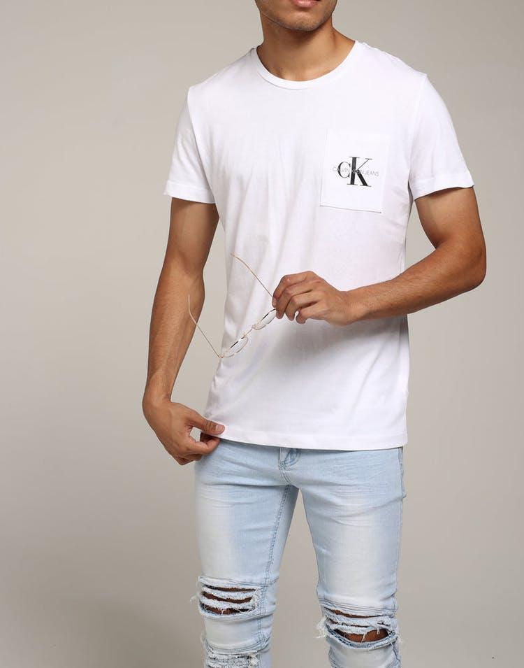 8697b9b9e1bd Calvin Klein Monogram Pocket Slim Tee White – Culture Kings