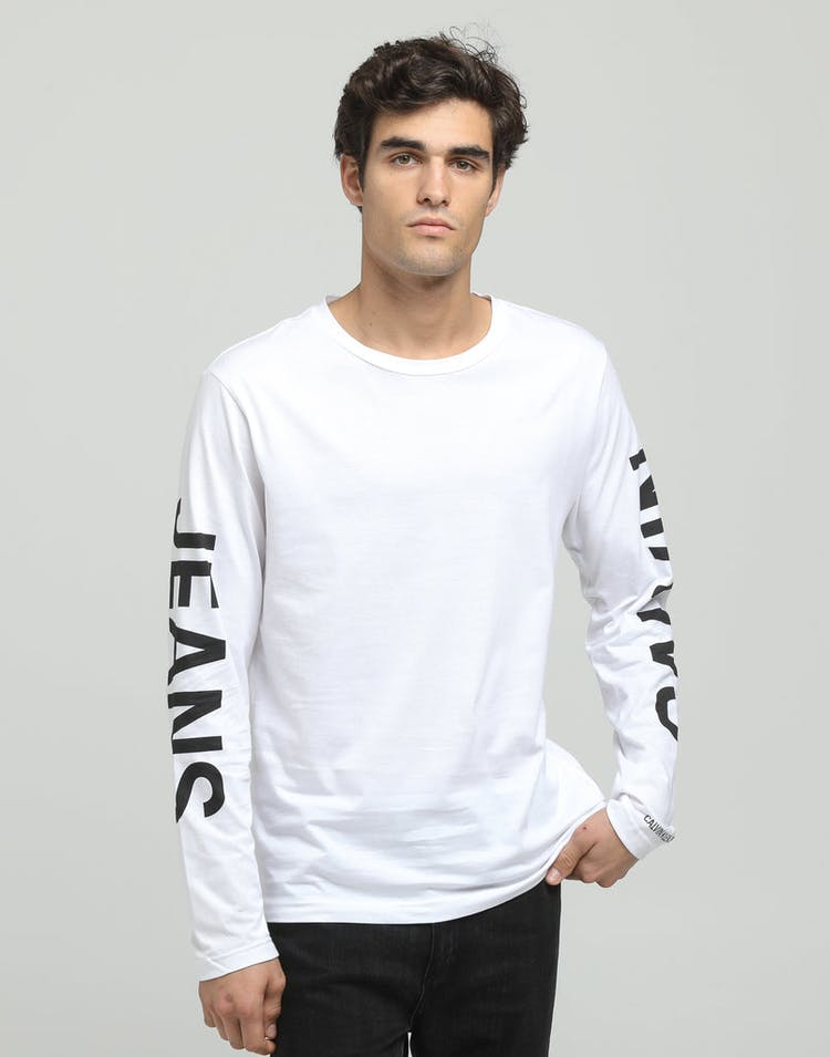 Calvin Klein Institutional Back Print LS White