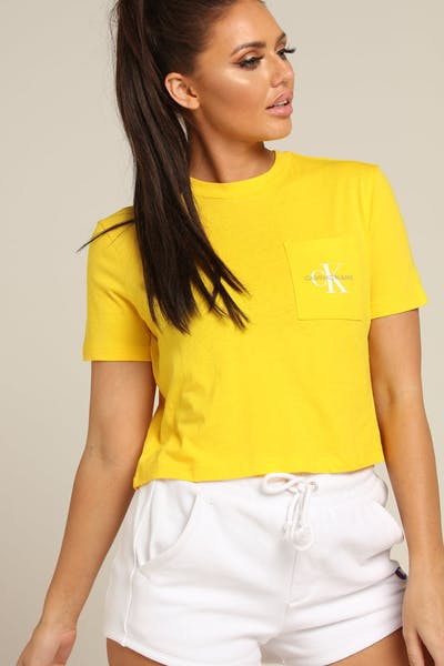 Calvin Klein Women's Monogram Crop Pocket Tee Lemon