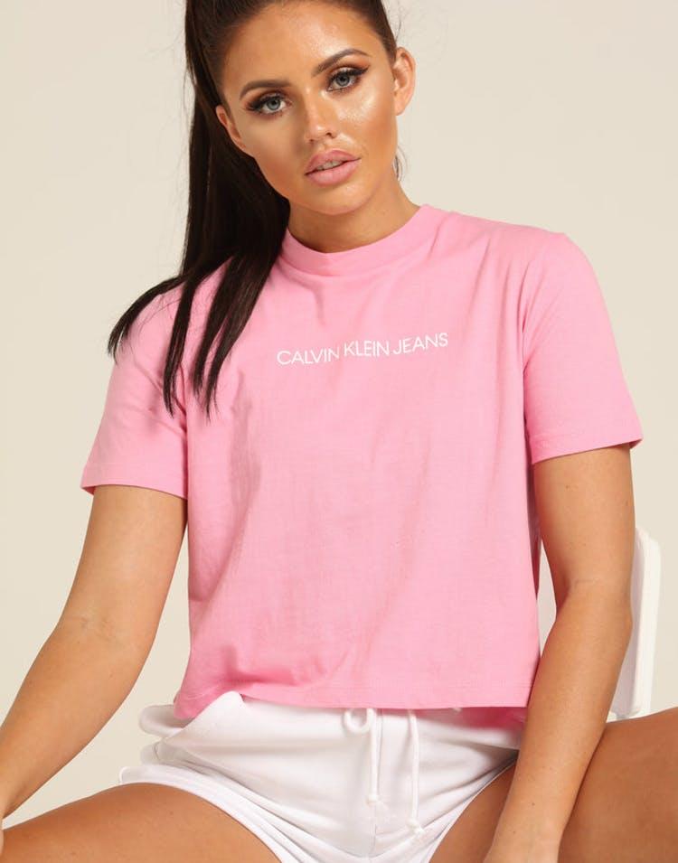 08aa53a2 Calvin Klein Women's Shrunken Institutional Crop Begonia Pink – Culture  Kings