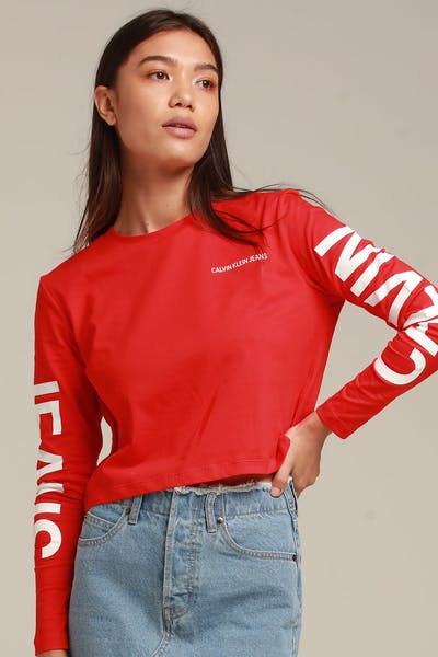 Calvin Klein Women's Institutional Back Logo LS Red/White