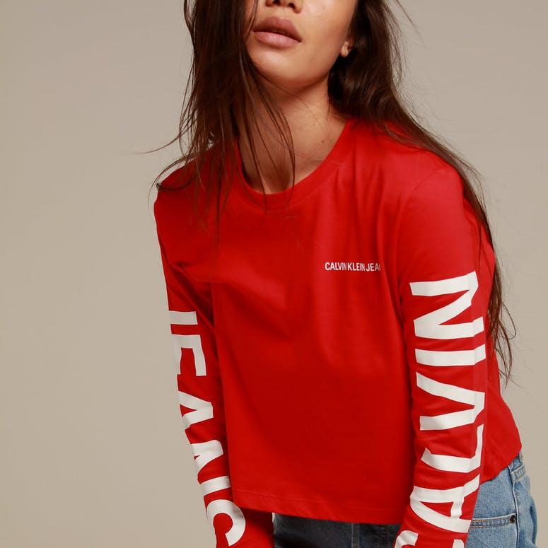 Calvin Klein Women's Institutional Back Logo LS Red/White