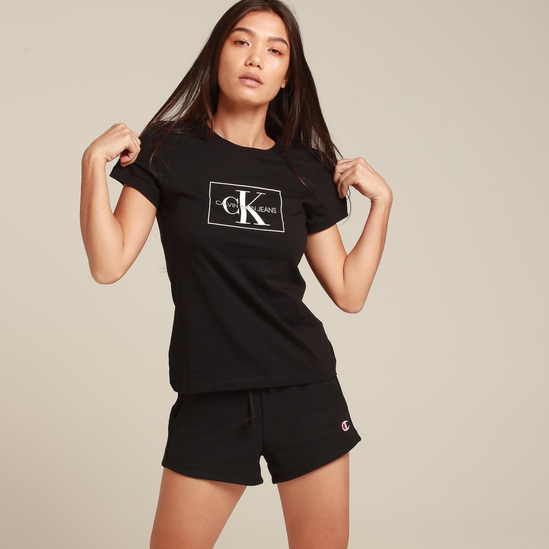 Calvin Klein Women's Outline Monogram Slim Fit BlackWhite