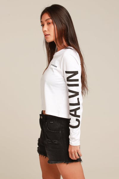 44a12b82d640e Calvin Klein Women s Institutional Back Logo LS White Black