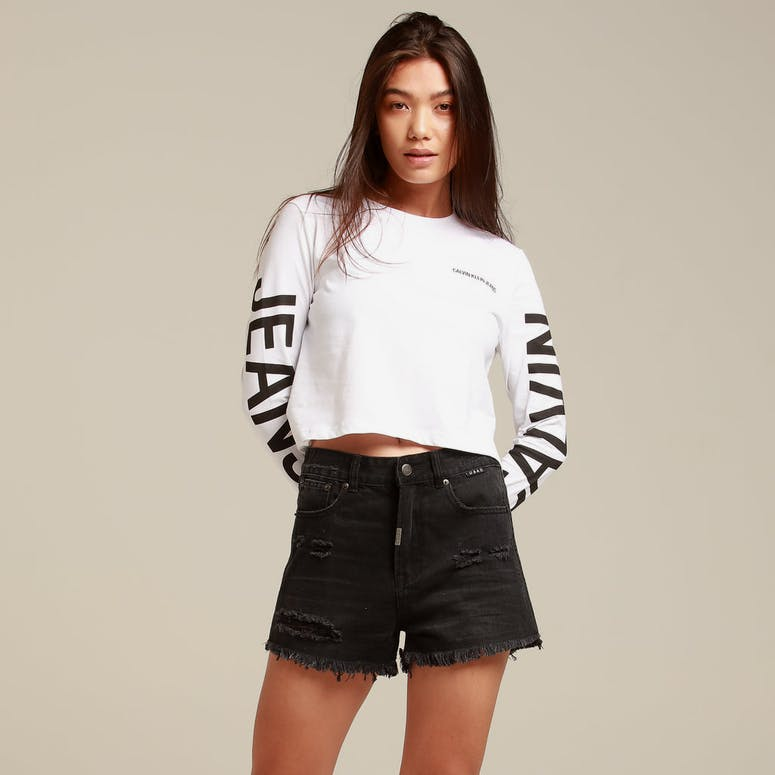 Calvin Klein Women's Institutional Back Logo LS White/Black